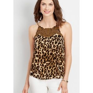 NWOT Maurices Embroidered Yoke Leopard Cami